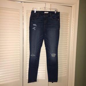 LOFT Modern skinny destructed jeans